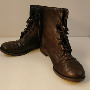 Brash Ollie Womens Boots Brown High Top Military